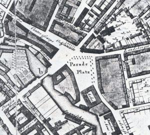 Ausschnitt eines Stadtplans mit dem Platz um 1804