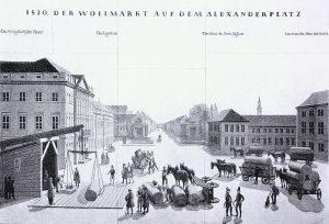 Wollmesse auf dem Alexanderplatz um 1830