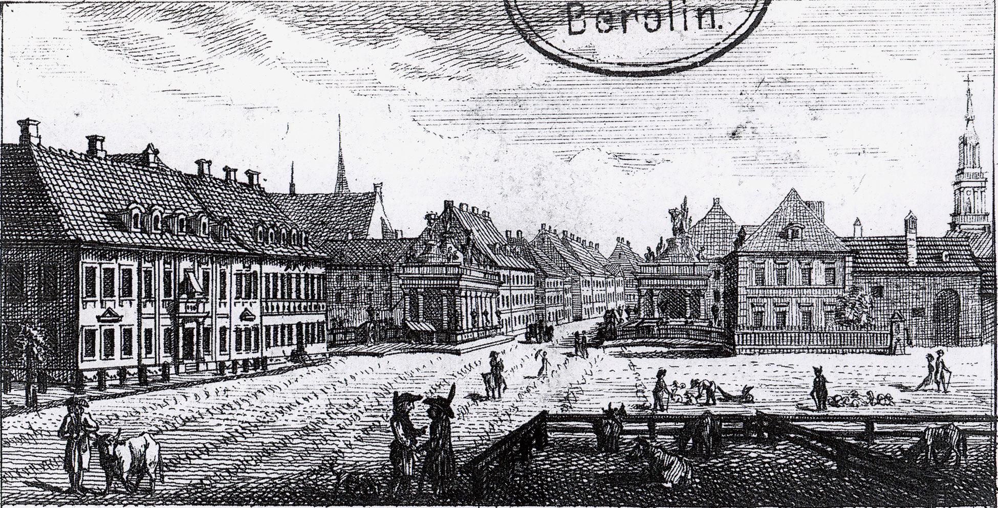 Alexanderplatz – 1796 (ca.) – Ochsenplatz mit Königsbrücke & Königskolonnaden