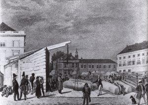 Wollmesse auf dem Alexanderplatz 1830
