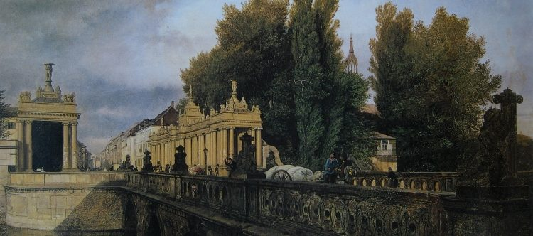 Königsbrücke und Königskolonnaden auf einem Gemälde von Eduard Gärtner aus dem Jahre 1835