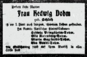 Todesanzeige für Hedwig Dohm