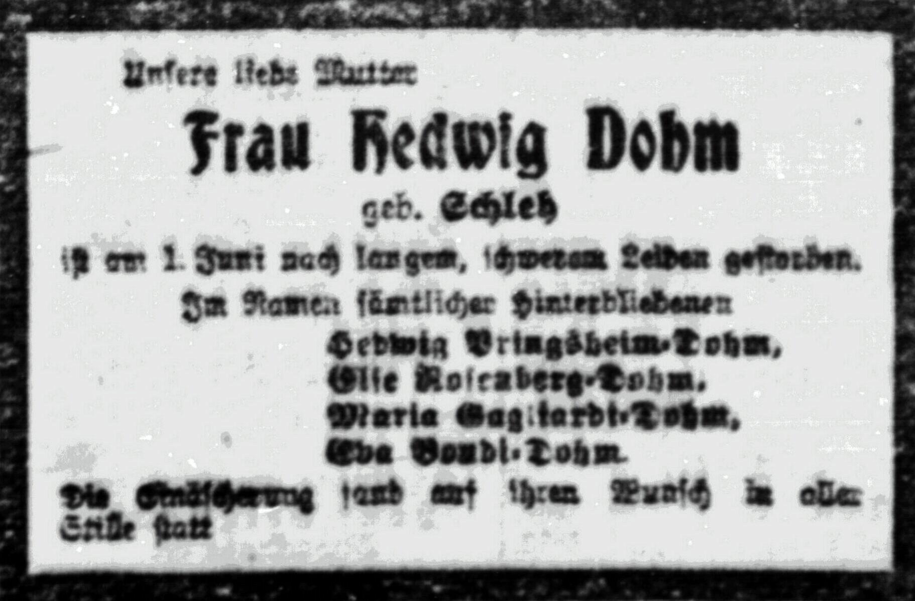 Hedwig Dohm – 1919 – Todesanzeige