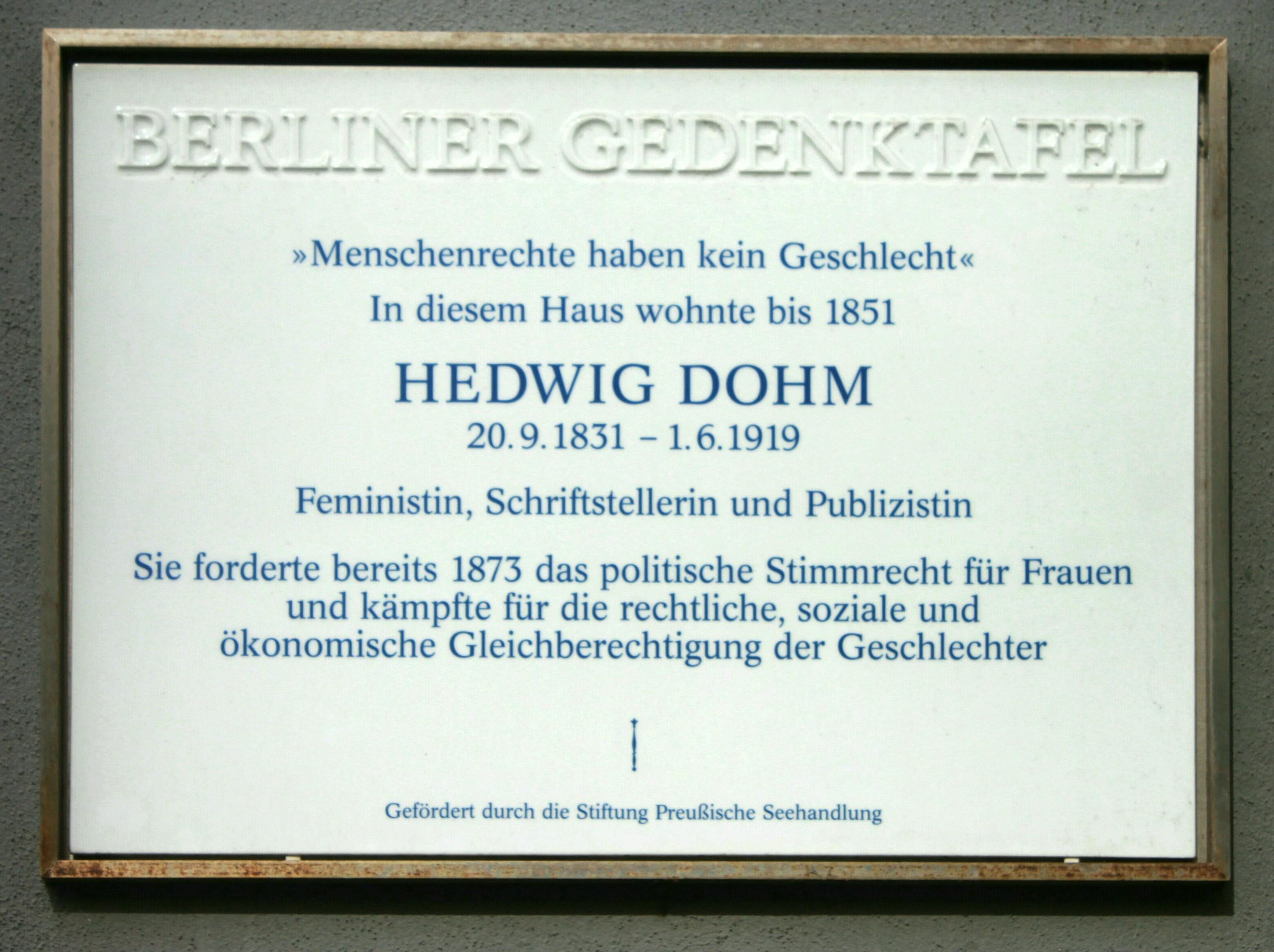 Hedwig Dohm – 2017 – Berliner Gedenktafel