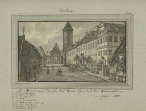Die Spandauer Straße um 1700, mit Spandauer Tor und Pulverturm