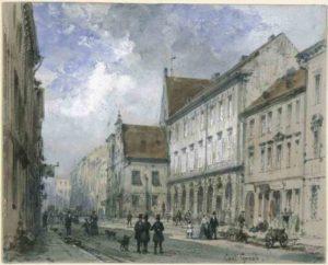 Spandauer Straße mit Gerichtslaube - Aquarell von Carl Georg Anton Graeb