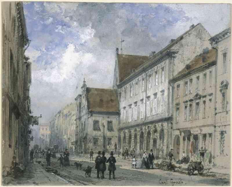 Spandauer Straße – unbekannter Zeitpunkt – Aquarell von Carl Georg Anton Graeb