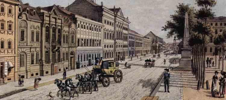 1800 - Leipziger Straße und Dönhoffplatz mit Spittelkolonnaden (Banner)