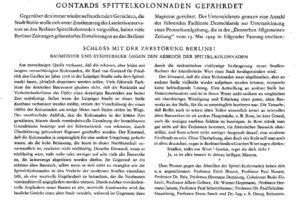 """Der Aufruf """"Gontards Spittelkolonnaden gefährdet"""" von 1929"""