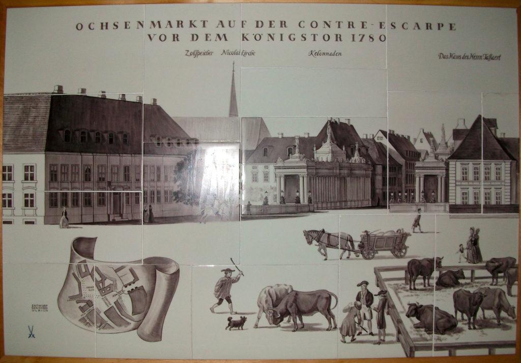 """Das Porzellanbild """"Ochsenmarkt auf der Contre-Escarpe vor dem Königstor 1780"""""""