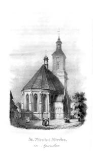 Die Nikolaikirche in Spandau im Jahre 1839