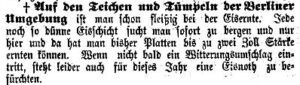 Meldung zur Eisernte im Friedenauer Lokal-Anzeiger vom 10. Januar 1899
