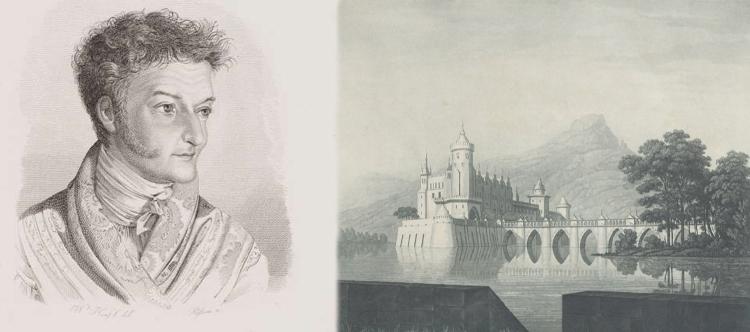 E. T. A. Hoffmann - 1815 - Porträt von Wilhelm Hensel und Karl Friedrich Schinkel & Friedrich Christoph Dietrich - Undine - Entwurf der 9. Dekoration (Banner)