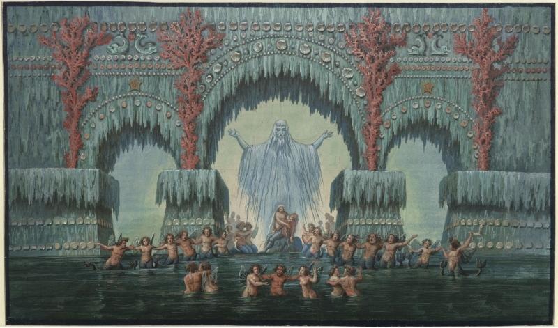 Karl Friedrich Schinkel – 1815 – Undine – Entwurf der 10. Dekoration (Kühleborns Wasserpalast)