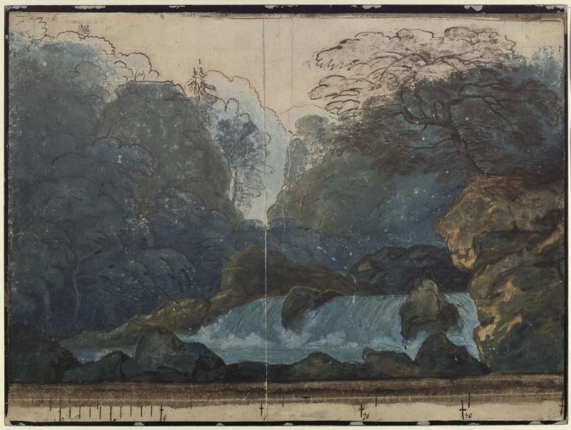 Karl Friedrich Schinkel – 1815 – Undine – Entwurf der 2. Dekoration (Wald mit Wasserfall)