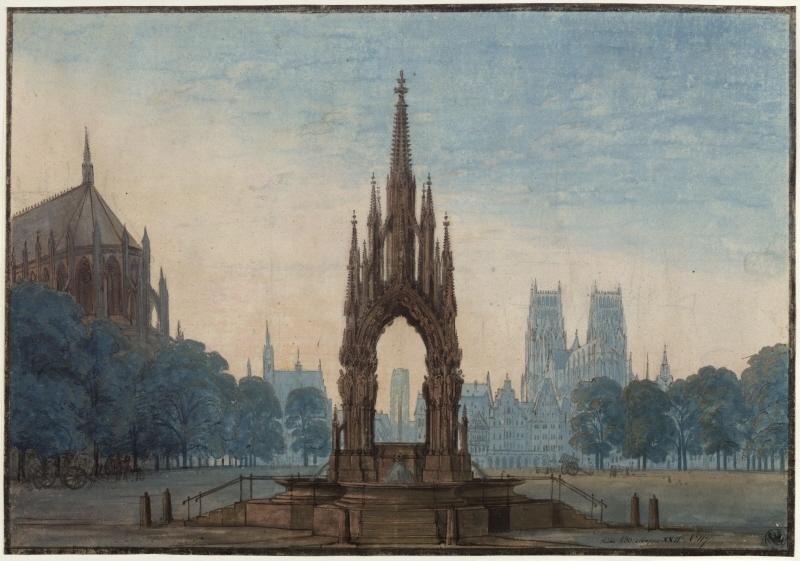Karl Friedrich Schinkel – 1815 – Undine – Entwurf der 3. Dekoration (Marktplatz mit Brunnen)