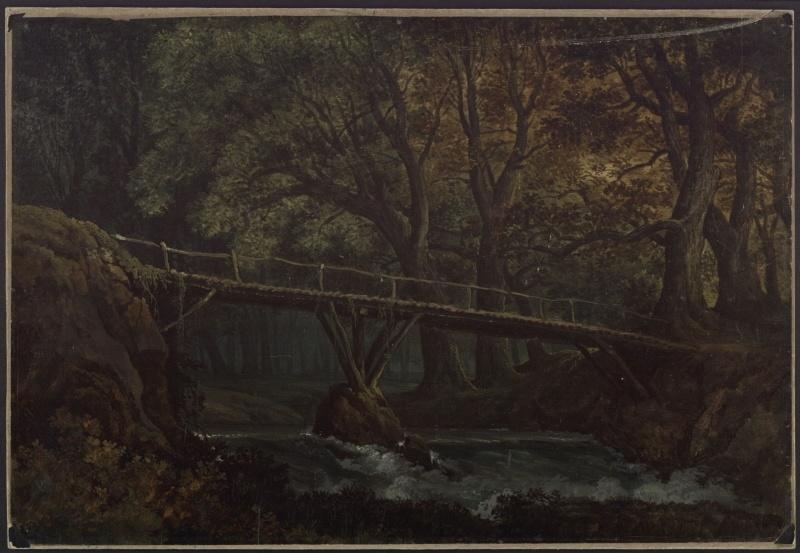 Karl Friedrich Schinkel – 1815 – Undine – Entwurf der 7. Dekoration (Dichter Wald mit Brücke)