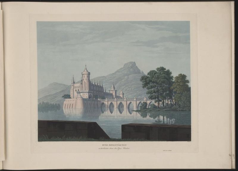 Karl Friedrich Schinkel – 1815 – Undine – Entwurf der 9. Dekoration (Burg Ringstetten) (Druck)