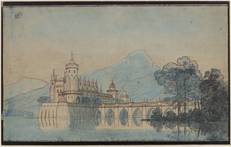 Karl Friedrich Schinkel – 1815 – Undine – Entwurf der 9. Dekoration (Burg Ringstetten)