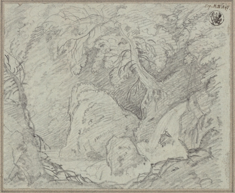 Karl Friedrich Schinkel – 1815 – Undine – Vorstudie zum Entwurf zur 2. Dekoration (Wald mit Wasserfall)