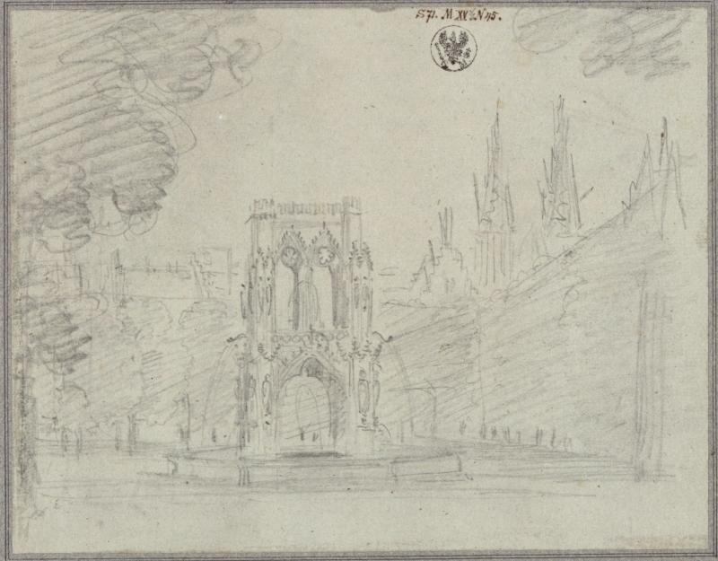 Karl Friedrich Schinkel – 1815 – Undine – Vorstudie zum Entwurf zur 3. Dekoration (Marktplatz mit Brunnen)