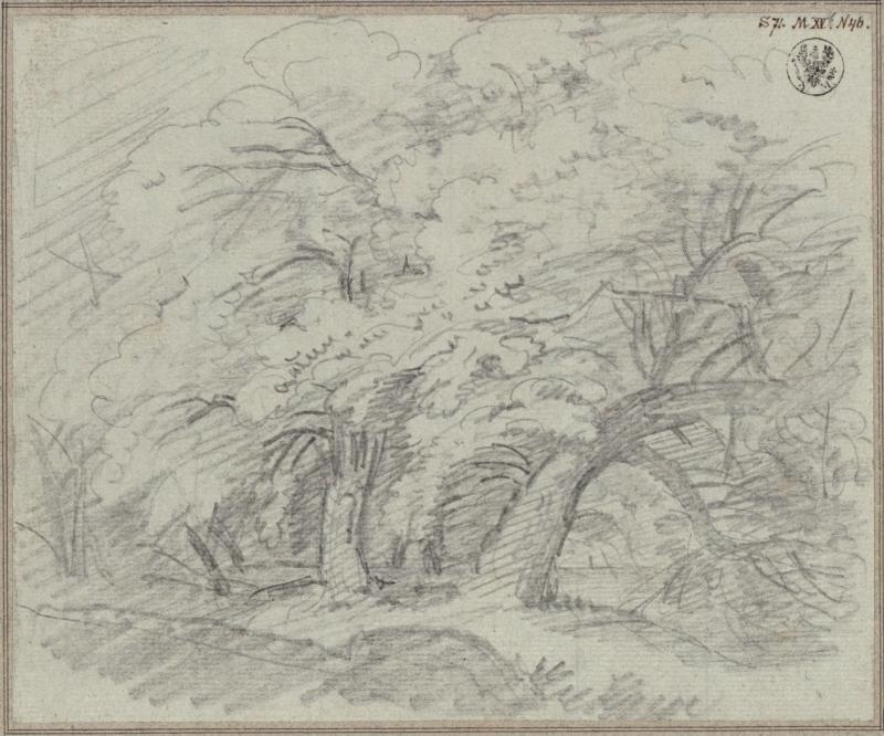 Karl Friedrich Schinkel – 1815 – Undine – Vorstudie zum Entwurf zur 7. Dekoration (Dichter Wald mit Brücke)