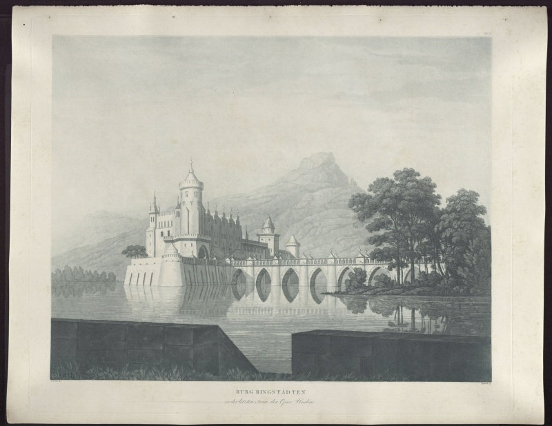Karl Friedrich Schinkel & Friedrich Christoph Dietrich – 1815 – Undine – Entwurf der 9. Dekoration (Burg Ringstetten)
