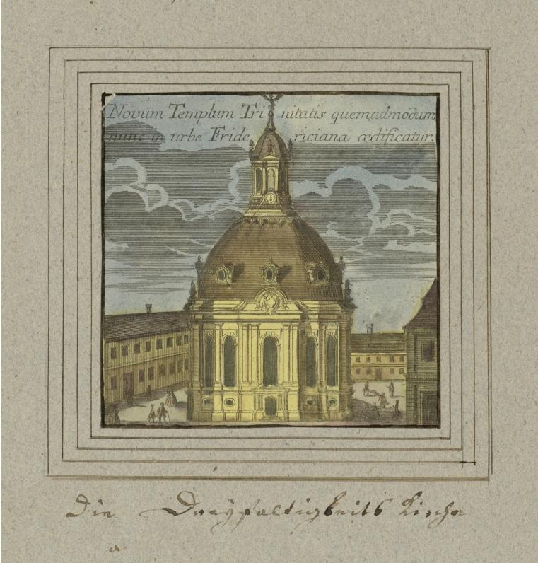 Die Dreifaltigkeitskirche im 18. Jahrhundert nach einem Stich von Matthäus Seutter