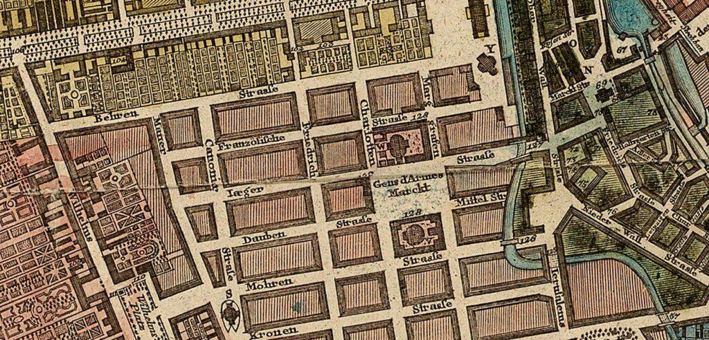 Die Jägerstraße - Ausschnitt aus einem Stadtplan von 1772