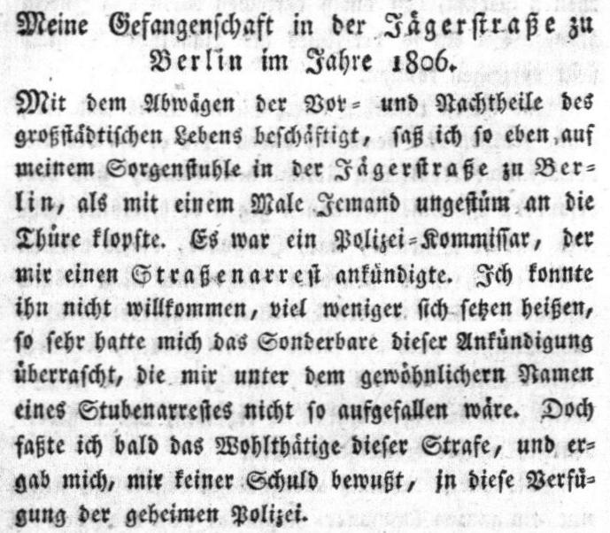 """Der Anfang des Artikels von J. A. Mercy in der Zeitung """"Berlin oder der preußische Hausfreund"""" vom 3. Mai 1806"""