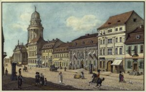 Die Jägerstraße mit dem Französischem Dom um 1812 - Zeichnung von Friedrich August Calau