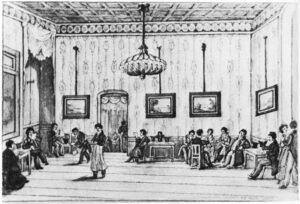 Das Café Stehely im Jahr 1827 - Aquarell von Leopold Ludwig Müller