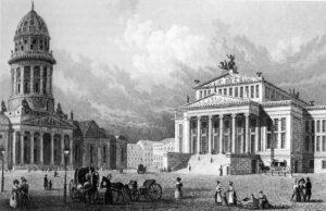 Der Gendarmenmarkt 1833 - Zeichnung von Johann Heinrich Hintze