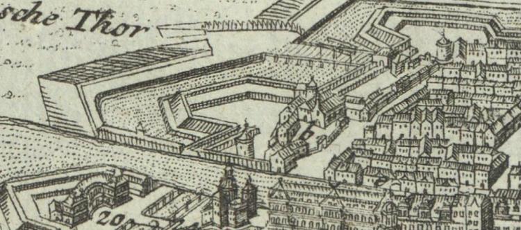 Die Uffelnsche Bastion und das Heilig-Geist-Spital mit dem Spandauer Tor - Plan von Gabriel Bodenehr. (Banner)
