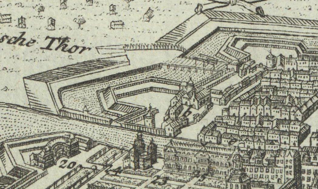 Die Uffelnsche Bastion und das Heilig-Geist-Spital mit dem Spandauer Tor - Plan von Gabriel Bodenehr.