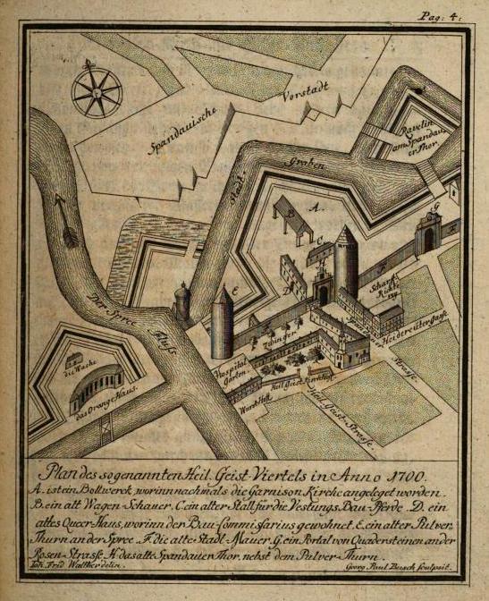 Plan des Heilig-Geist-Viertels in Anno 1700 von Johann Friedrich Walther