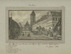 Die Spandower Straße, das Spandower Thor, und der Pulverthurm im Jahr 1700, von Leopold Ludwig Müller.
