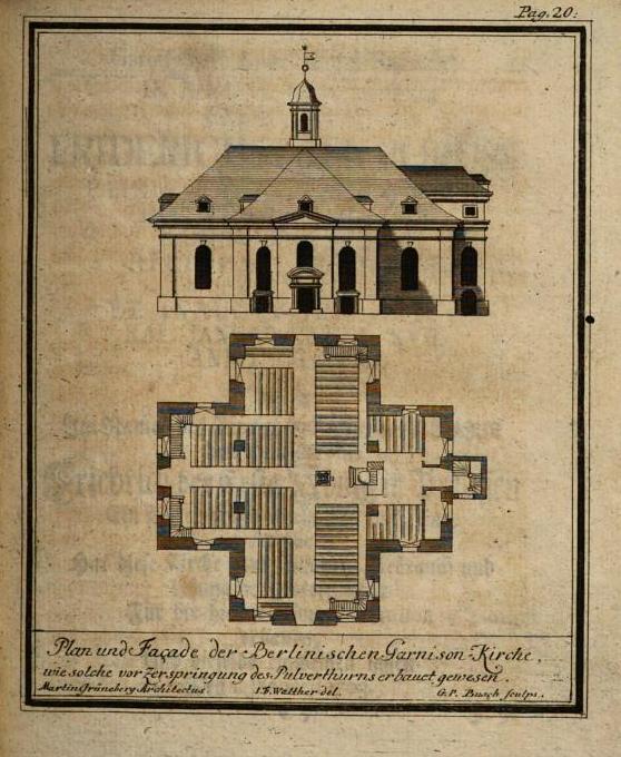 Plan und Fassade der Berlinischen Garnisonkirche im Jahre 1701 von Johann Friedrich Walther.