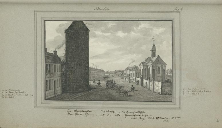 Wallstraße, Walltor, Garnisonschule, Pulverturm und die alte Garnisonkirche von Leopold Ludwig Müller.