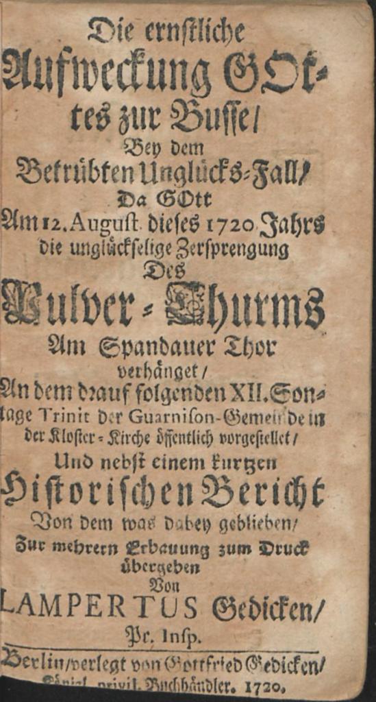 """Titelblatt des Buches """"Die ernstliche Aufweckung Gottes zur Buße..."""" von Lampertus Gedicke aus dem Jahr 1720."""