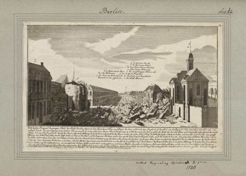 Nach der Explosion des Pulverturms im Jahr 1720.