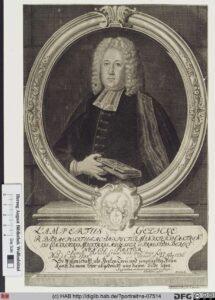 Porträt des Lampertus Gedicke, unbekanntes Jahr, vermutlich um 1730.
