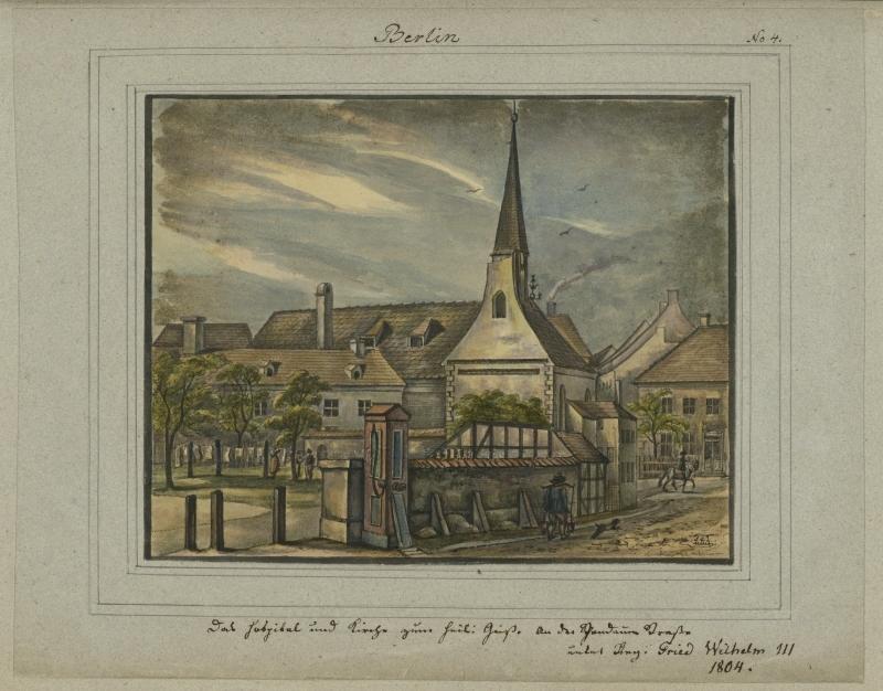 Hospital und Kirche zum Heiligen Geist im Jahre 1804, von Leopold Ludwig Müller.