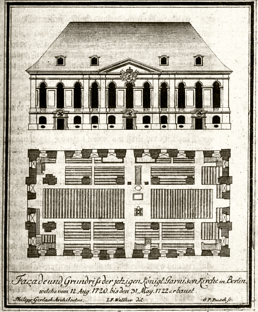 Fassade und Grundriß der zweiten Kirche im Jahre 1722 von Johann Friedrich Walther.