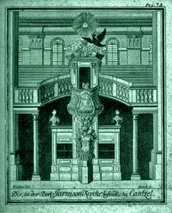 Kanzel & Empore in der neuen Berlinischen Garnisonkirche im Jahre 1722 von Johann Friedrich Walther & Georg Paul Busch.