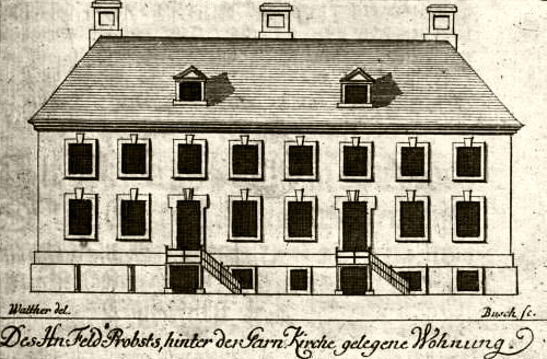 Fassade des Garnisonpredigerhauses 1722 von Johann Friedrich Walther & Georg Paul Busch.