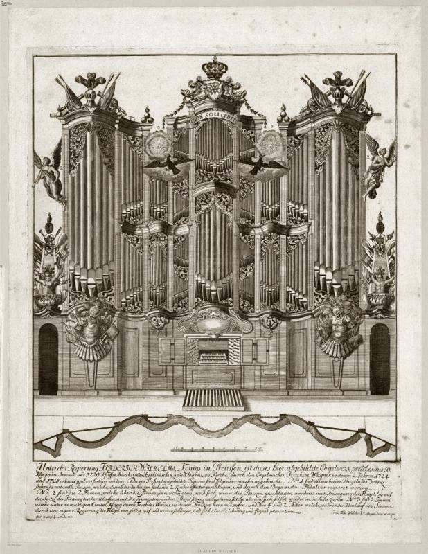 Die von Joachim Wagner gebaute Orgel in der Berliner Garnisonkirche im Jahre 1728.
