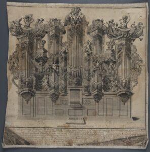 Die Orgel von Johann Michael Martin Röder auf einem Kupferstich um 1713.