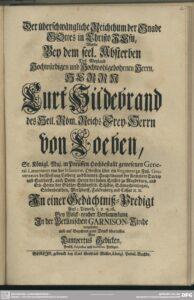 Titelblatt der Gedächtnispredigt für Kurt Hildebrand von Loeben von Lampertus Gedicke aus dem Jahr 1730.