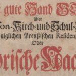 """Titelblatt des Buches """"Die gute Hand Gottes über die Garnison-Kirch- und Schul-Anstallten..."""" von Johann Friedrich Walther aus dem Jahr 1743 (Banner)"""